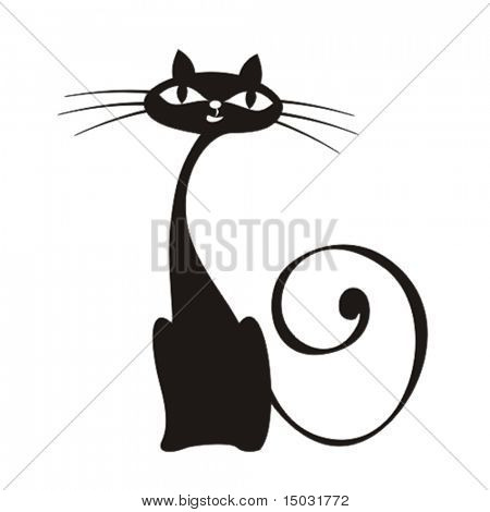 vector elegance cats silhouette isolated on white