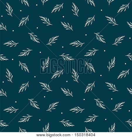 Dark blue seamless retro background with deciduous leaves. Vector illustration.