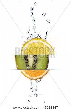 mix from lemon, orange and kiwi with fresh water drops isolated on white