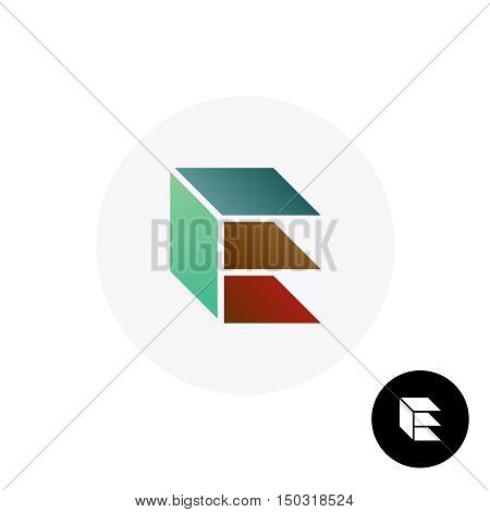 Letter E industrial building logo. Slabs perspective construction symbol.