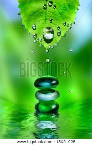 Ausgleich Spa glänzend Steine mit Wasser und Blatt fällt auf grünem Hintergrund