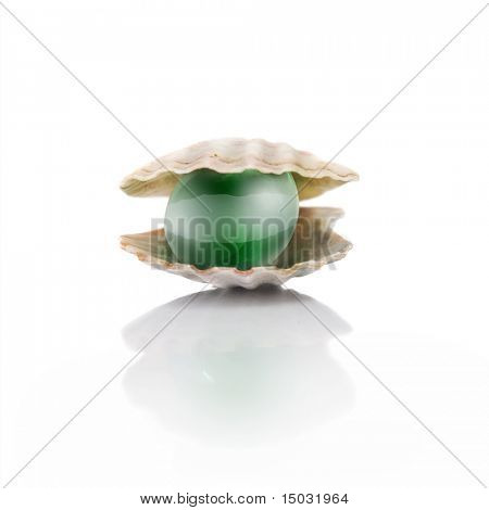 stylized green pearl isolated on white