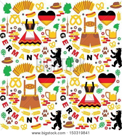 Germany elements collection. Seamless patern. Oktoberfest festival. Vector illustration
