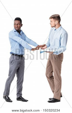 African-american And Caucasian Businessman Looking At Documents