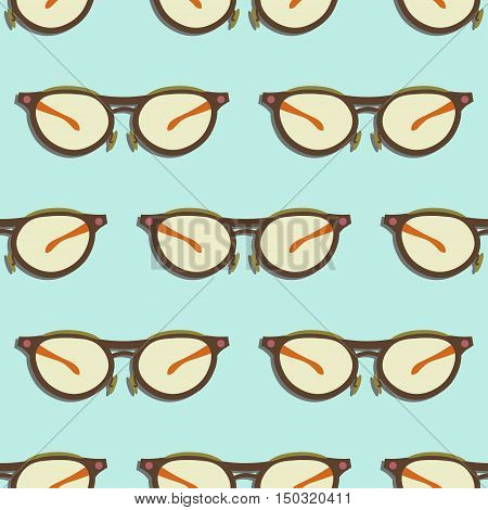 Seamless pattern with vector glasses flat icons. Healthy vision illustration.