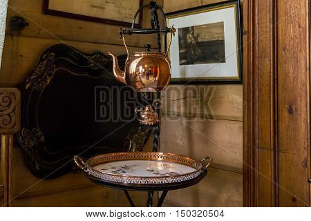 TROLDHAUGEN, NORWAY - JULY 3, 2016: These are household items belonging to the family of composer Edvard Grieg.