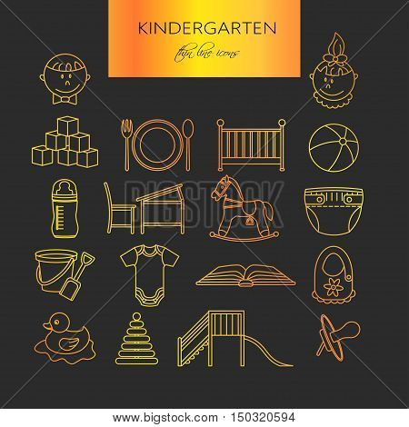 Child and baby care center thin line icons. Kindergarten golden vector logo. Diaper, sandpit, slide, horse, ball, bottle, crib pacifier