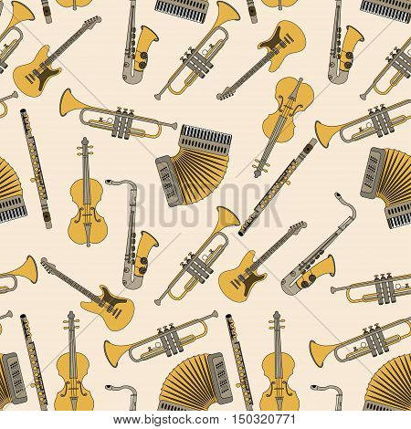 Seamless pattern with different music instruments synthesizer, drums, accordion, violin, trumpet, harp, drum saxophone electric guitar flute piano Vector