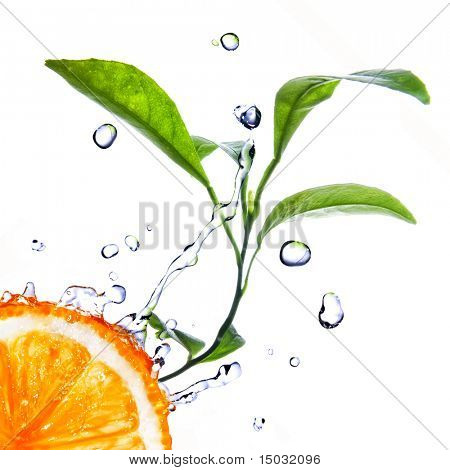 water drops on orange with green leaves isolated on white