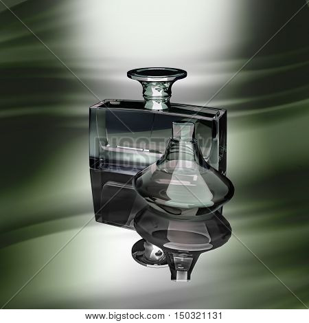 Two glass bottles of male perfume on a dark background. 3D illustration