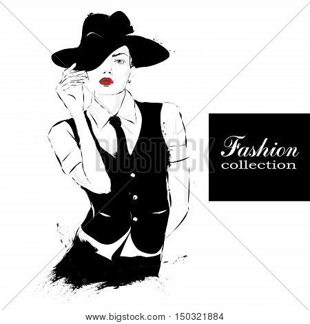 Fashion girl in sketch-style. Fashion woman portrait. Vector illustration.