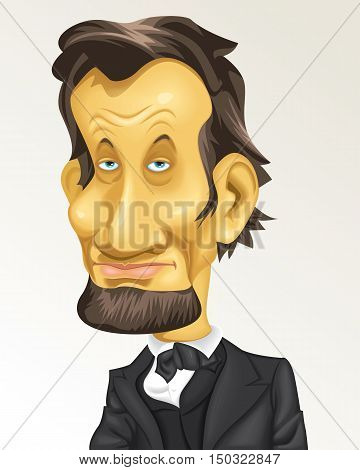 Cartoon Caricature Historical President USA Abraham Lincoln