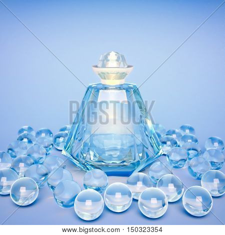 Crystal bottle of perfume and crystal spheres on a blue background. 3D illustration