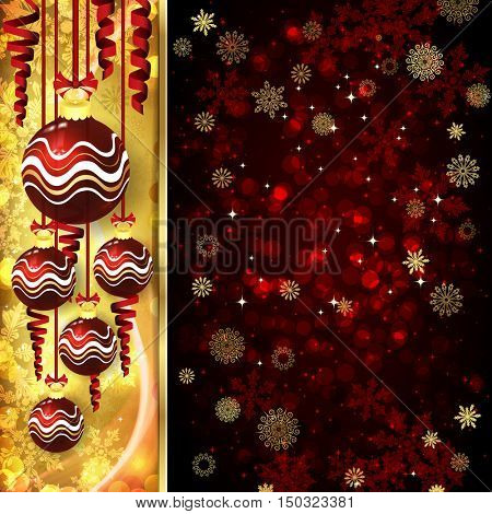 Christmas card with Christmas balls, serpentine on golden and red background.