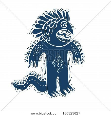 Vector Crazy Halloween Character Ogre, Fictitious Creature. Cool Illustration Of Freak Blue Monster.