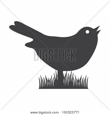 bird black simple icon on white background for web design