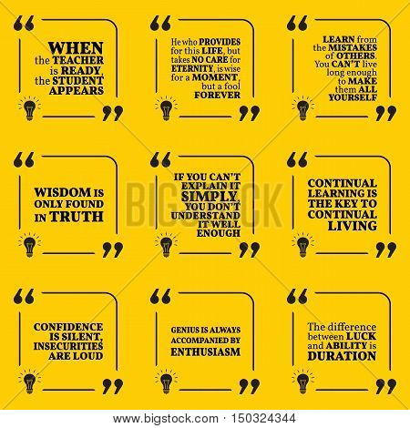 Set Of Motivational Quotes About Learning, Mistakes, Wisdom, Intelligence, Education, Teacher, Confi
