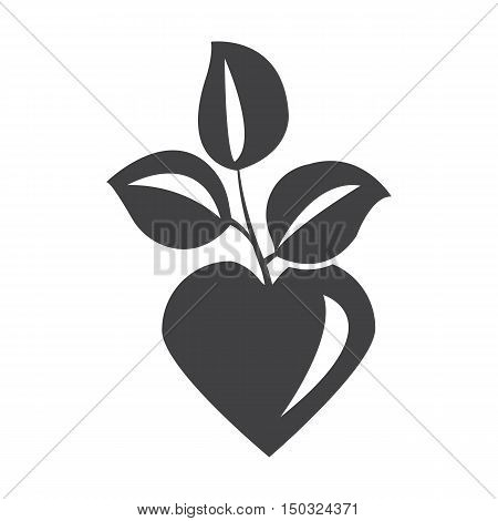 heart black simple icon on white background for web design