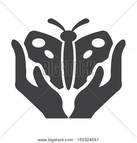 hands black simple icon on white background for web design