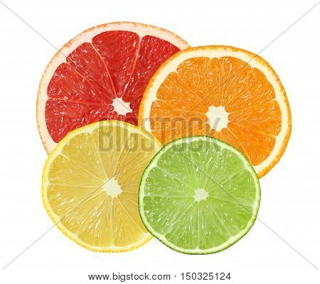 cut orange grapefruit lemon lime fruits isolated on white background with clipping path