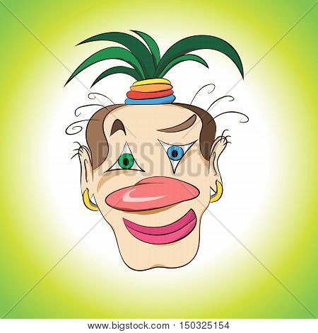 face funny interesting circus clown with a palm on his head vector illustration