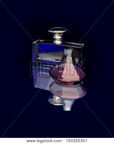 Two bottles of spirits isolated against a dark background with reflection. 3D illustration