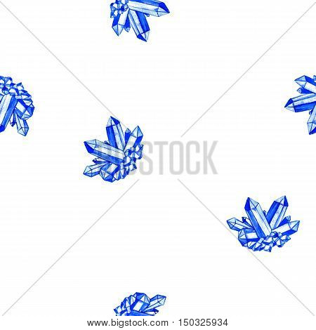 seamless pattern with watercolor minerals, blue crystals, sapphire, gem stones at white background, hand drawn illustration