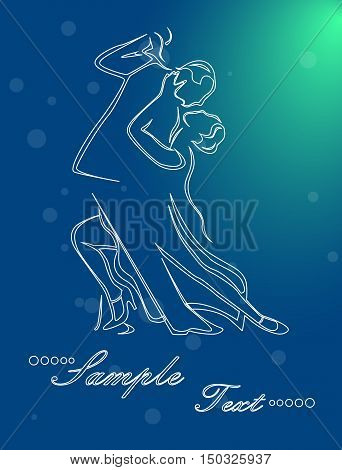 Illustration - silhouettes of people who dance tango.
