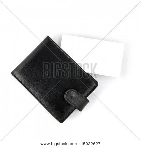 Empty business card with card holder isolated on white