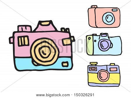 Hand Drawn line camera illustration. Retro hand drawn hipster photo camera isolated. Rough careless line drawing. Cameras in cartoon style.Soft pastel shades and colors.