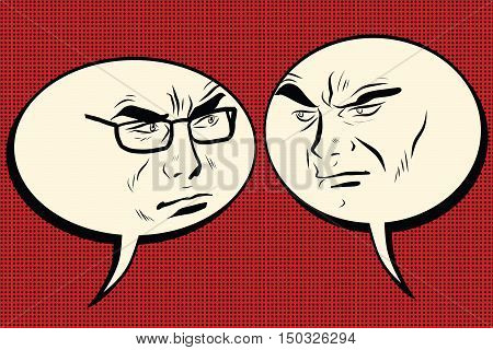 Two angry men talking. Comic bubble smiley face, pop art retro vector illustration. Human emotions