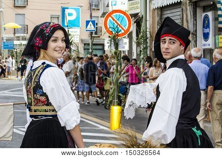 SELARGIUS, ITALY - September 13, 2015: Former marriage Selargino - Sardinia - portrait of young boys in traditional Sardinian costume