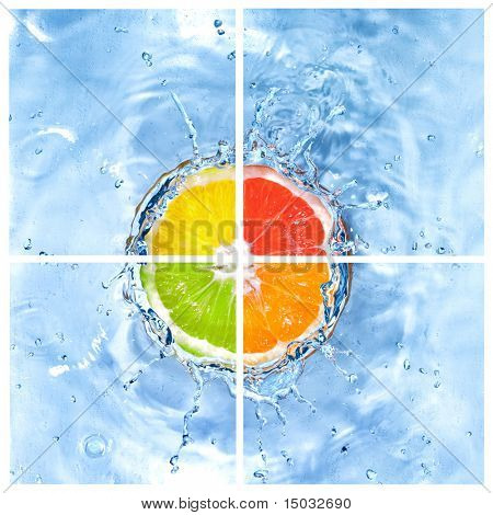 mix of citrus dropped into water with bubbles isolated on white