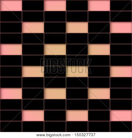 Pink holes against the background of a black tile. Abstract seamless background.