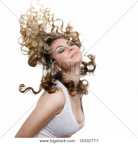 photo of sexy attractive blond with hair in air isolated on white