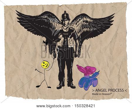 An hand drawn vector comic - street art - style. Policeman. Police officer - Bobby. Guardian Angel balloon dog and smiley toy.