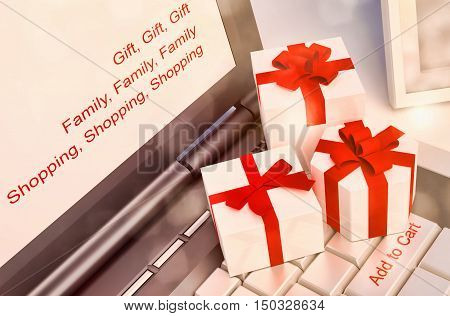 Gift concepts or online shopping with a message on keyboard enter key. 3D illustration