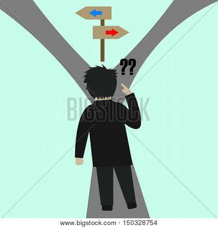 Different Road or Way or Choice Flat Cartoon Illustration