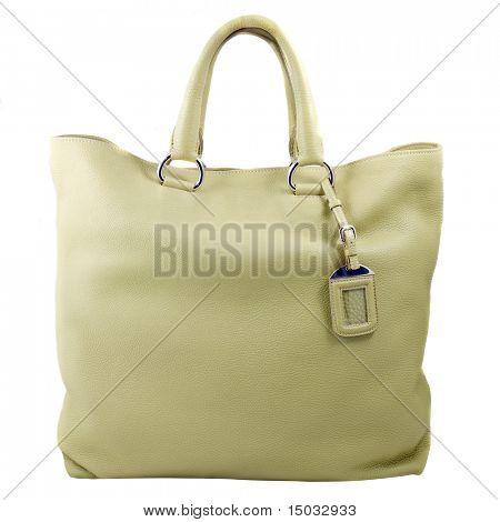 bolso de mujer del cuero verde de lujo aislado en blanco