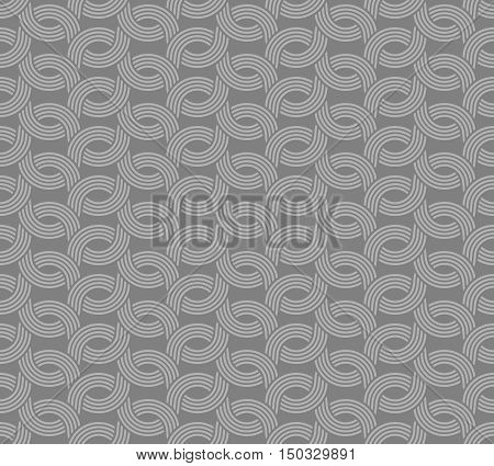 Parallel Rounded Weave Lines Seamless Pattern. Gray Neutral Color.