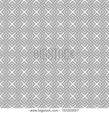 Geometric Weave Cross Squares Seamless Pattern. White And Gray Light Pale Colors.