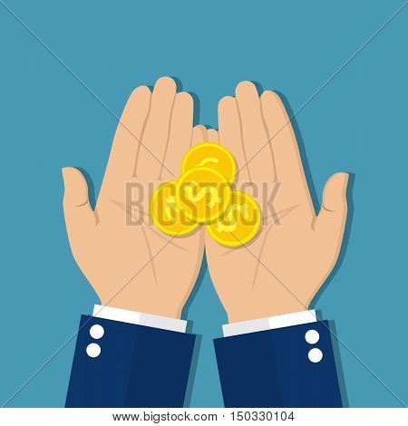 Coins in hand, money in hand. Concept of charity alms donate. Receive, giving, to take, ask for money. Financial support. Vector illustration in flat design.