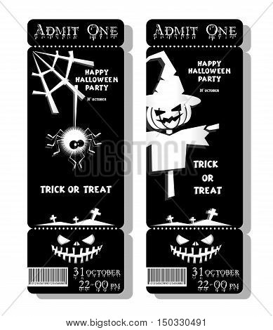 Set of funny holiday ticket: Happy Halloween party Trick or Treat and scarecrow spider pumpkin. Concept banners cards flyers posters. Vector illustration in flat or kids paper applique style