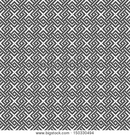 Geometric Weave Cross Squares Seamless Pattern. Black And White Contrast Colors.