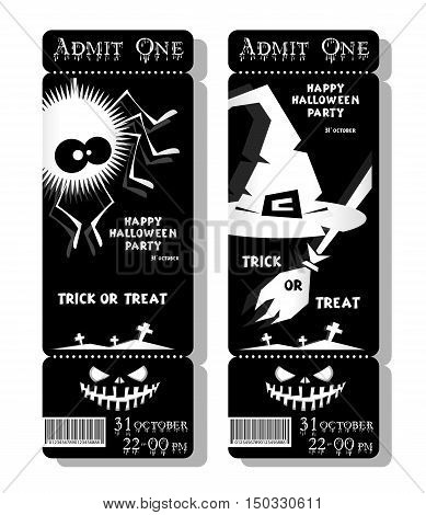 Set of funny holiday ticket: title Happy Halloween party Trick or Treat and spider witch hat and web. Concept banners cards flyers posters. Vector illustration in flat or kids paper applique style