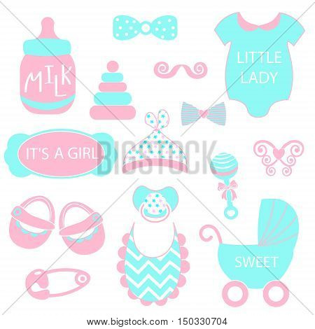 A Vector Illustration Of Cute Baby Girl Icons Like Nappy Pins, Pacifier And Baby Toys. Pink And Turq
