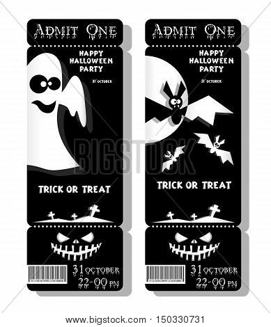 Set of funny holiday ticket. Title Happy Halloween party Trick or Treat and bats ghost. Concept for design banners cards flyers posters. Vector illustration in flat or kids paper applique style