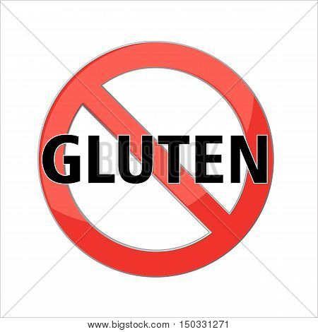 No Gluten free sign icon. No gluten symbol. Red prohibition sign. Stop symbol. Vector