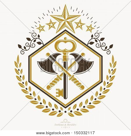 Vintage heraldic vector decorative emblem made with axes crossed and pentagonal stars