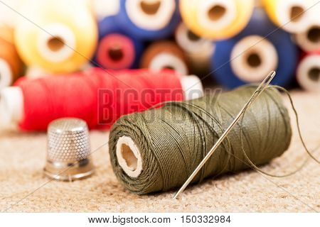detail of sewing kit in the workroom
